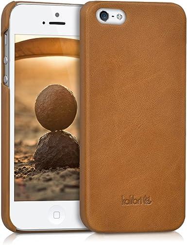 kalibri Coque compatible avec Apple iPhone SE (1.Gen 2016) / 5 / 5S – Coque rigide en cuir véritable lisse antidérapant – Cognac