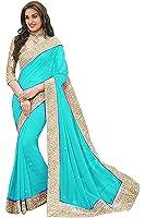 V-Art Women's Chiffon Saree With Blouse Piece (Firozigoldpatta_Sky Blue)