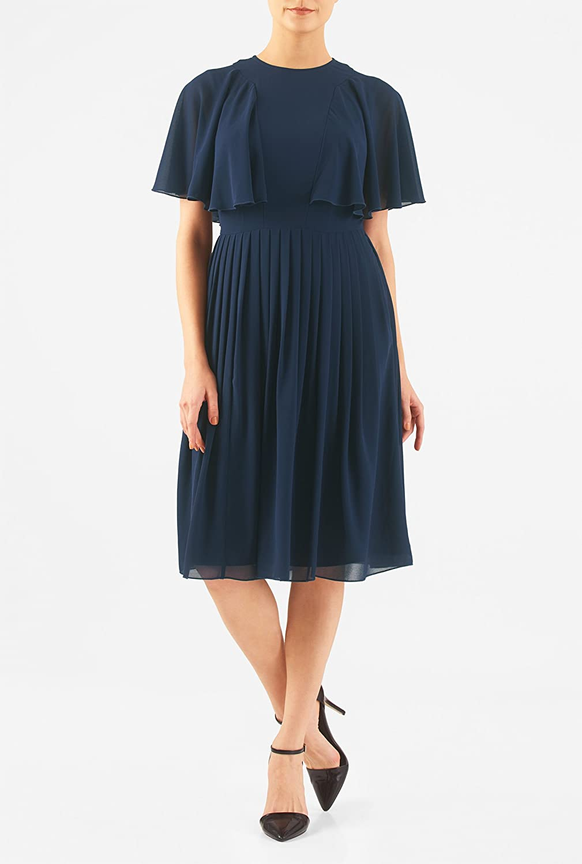 1930s Style Fashion Dresses eShakti Womens Flutter sleeve sheer chiffon dress $69.95 AT vintagedancer.com