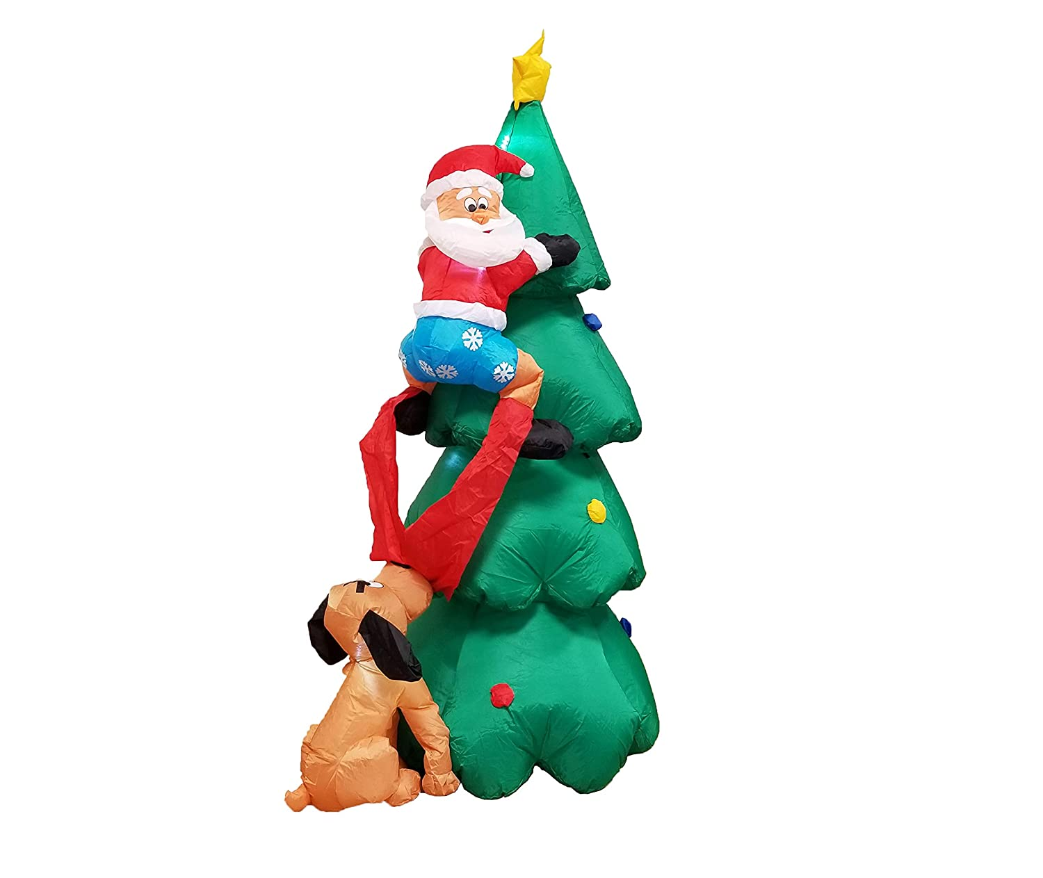 Amazon.com: 6 Foot Inflatable Santa Claus Climbing on Christmas Tree ...