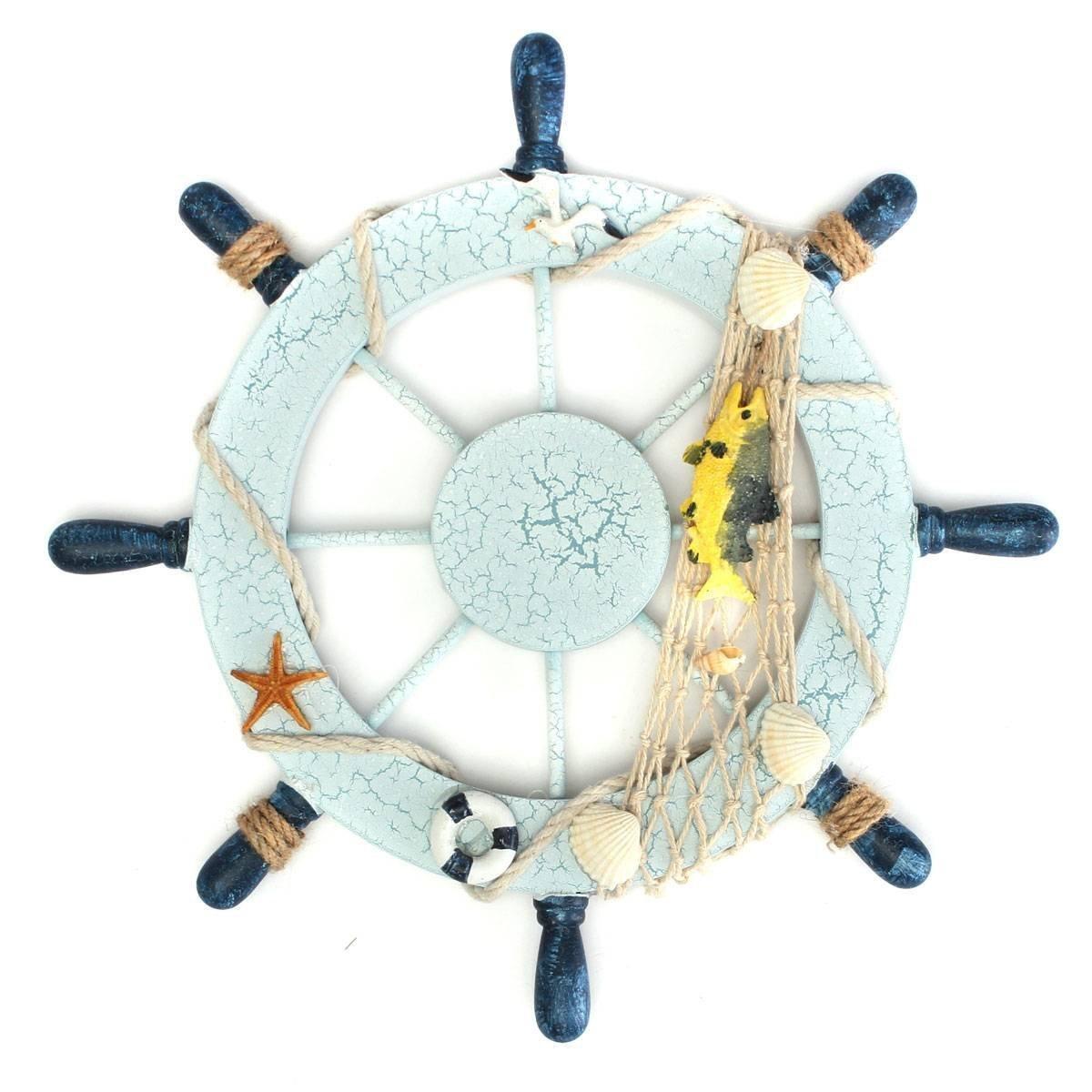 KAIMENG Decoración de la pared del hogar Timón Rueda Barco Volante barco de Madera Mediterráneo (Pescado) OC74105EXB