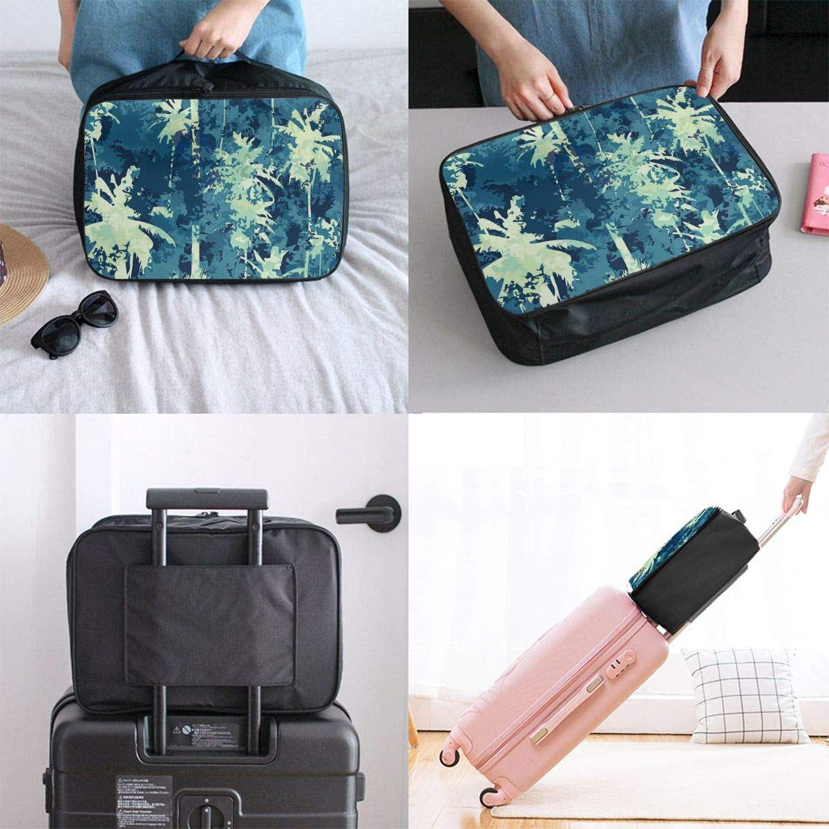 Hawaiian Palm Tree Maple Leaf Travel Lightweight Waterproof Foldable Storage Portable Luggage Duffle Tote Bag Large Capacity In Trolley Handle Bags 6x11x15 Inch