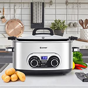 Costway 4-in-1 Multi Cooker, 6 Quart Countdown Programmable Portable Oval Stainless Steel Slow Cooker with Digital Timer, Steamer, Stove Top & Oven with Steaming Rack and Fork