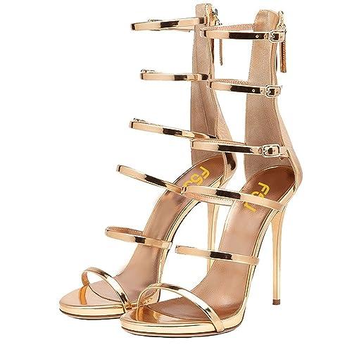 e666d4402bcf FSJ Women Sexy Strappy Gladiator Wedding Sandals Open Toe High Heel  Stiletto Shoes Size 4 Gold