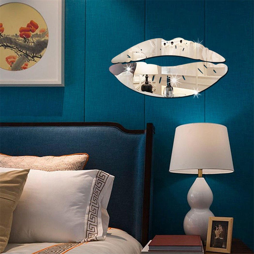 Colorido Fashion 3D Acrylic Mirror Kiss Lip Wall Sticker DIY Art Mural Decal Home Decor size Medium (Silver) by Colorido (Image #4)