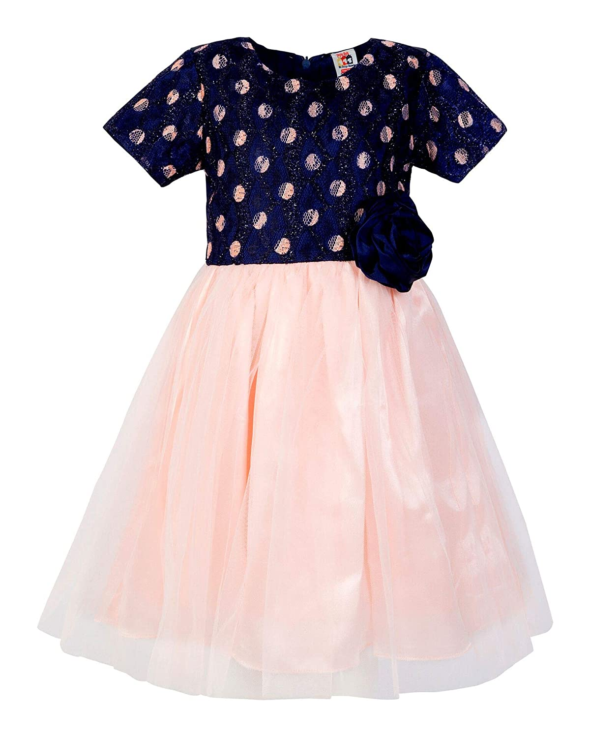 183319dfa94a0 Stylo Bug Kids Dress, Short Sleeve Polka Dot Printed Round Neck Dress for  Girls, Pink: Amazon.in: Clothing & Accessories
