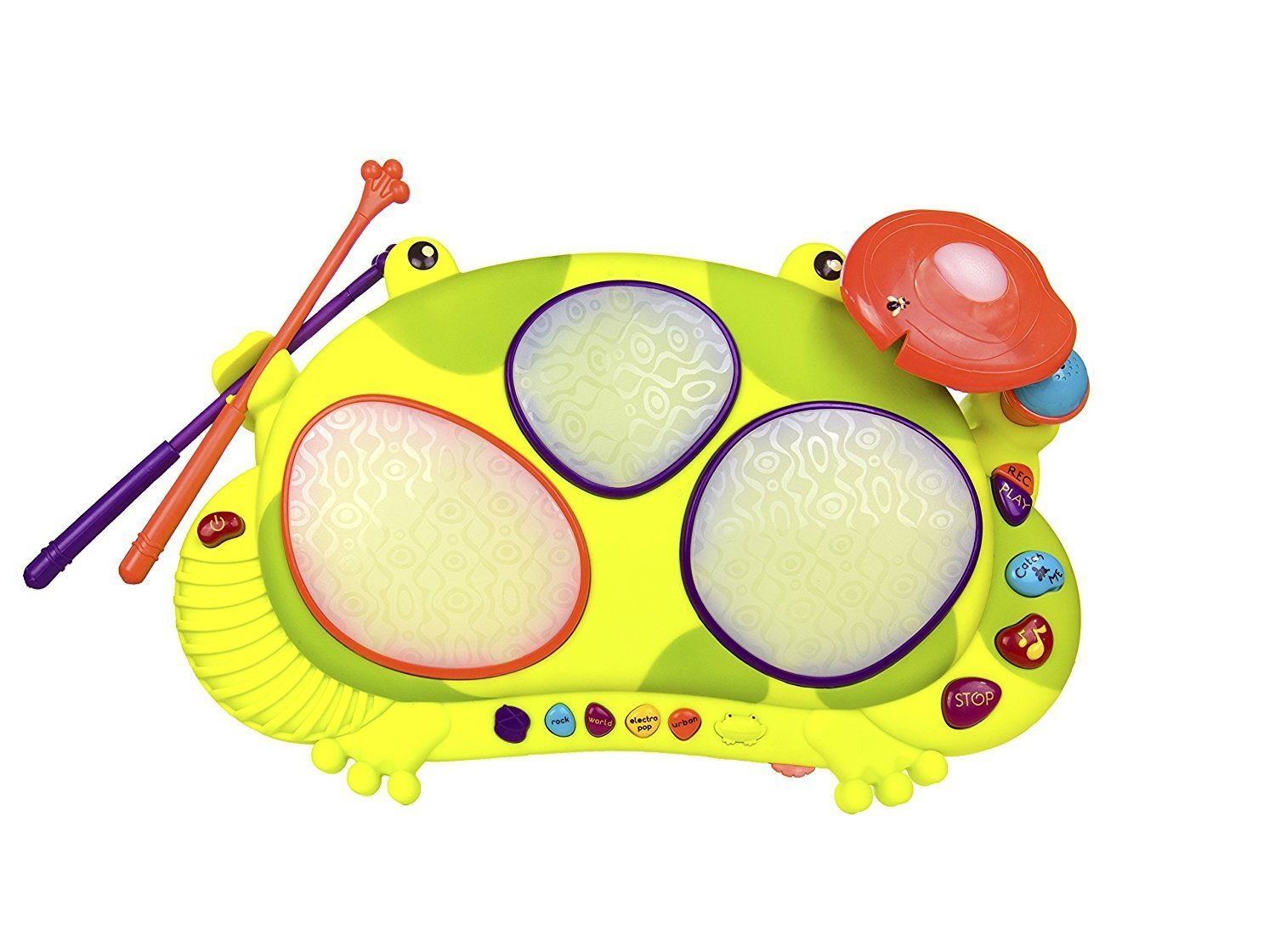 B. Toys Ribbit-Tat-Tat Light-Up Musical Drum – Ages 2 and Up B Toys