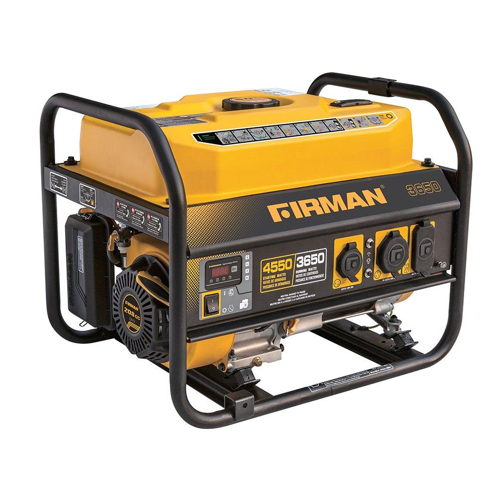 Firman P03607 4550/3650 Watt Recoil Start Gas Portable Generator CARB Certified by Firman