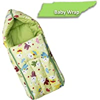 Fun Baby (FB-6003) 3 in 1 Multi Usage Baby Cotton Bed Cum Sleeping Bag, Carry Bag, Safety Bag, Baby Wrapper, Baby Carrier, Nest Bag 0-6 Months 66CM x 30cm with high Cushioning (Green)