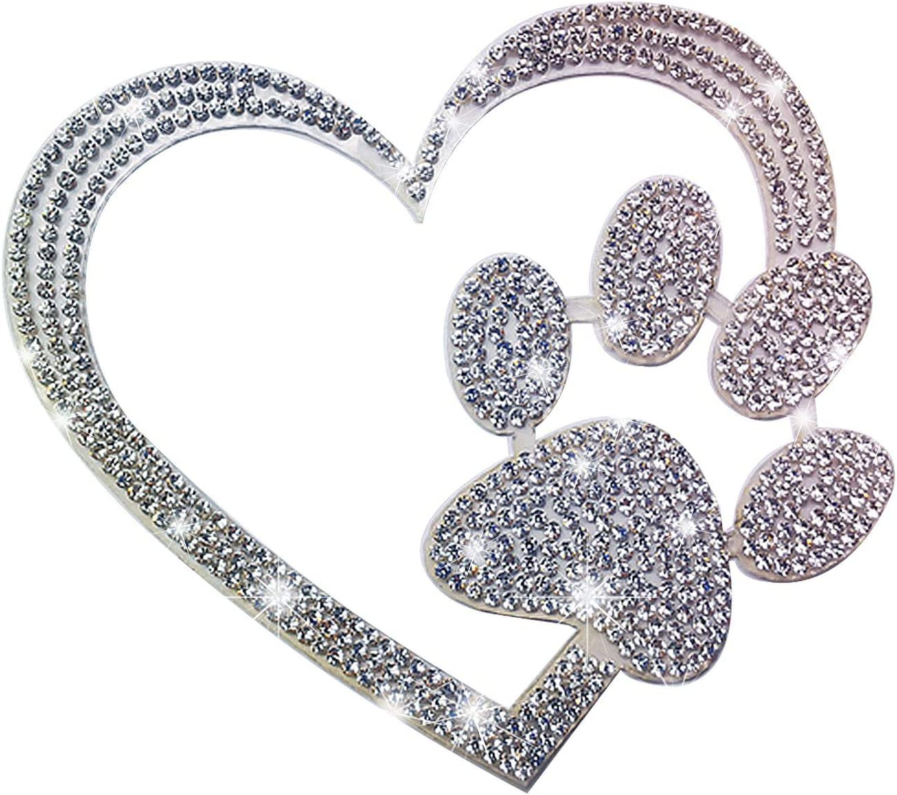 Kuufausi car Bling Stickers and Decals, Cars Walls Laptop Stickers, Heart with Dog paw(4 X 3.5 Inch)