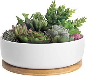 MyGift 8-Inch White Ceramic Round Planter Pot with Bamboo Tray