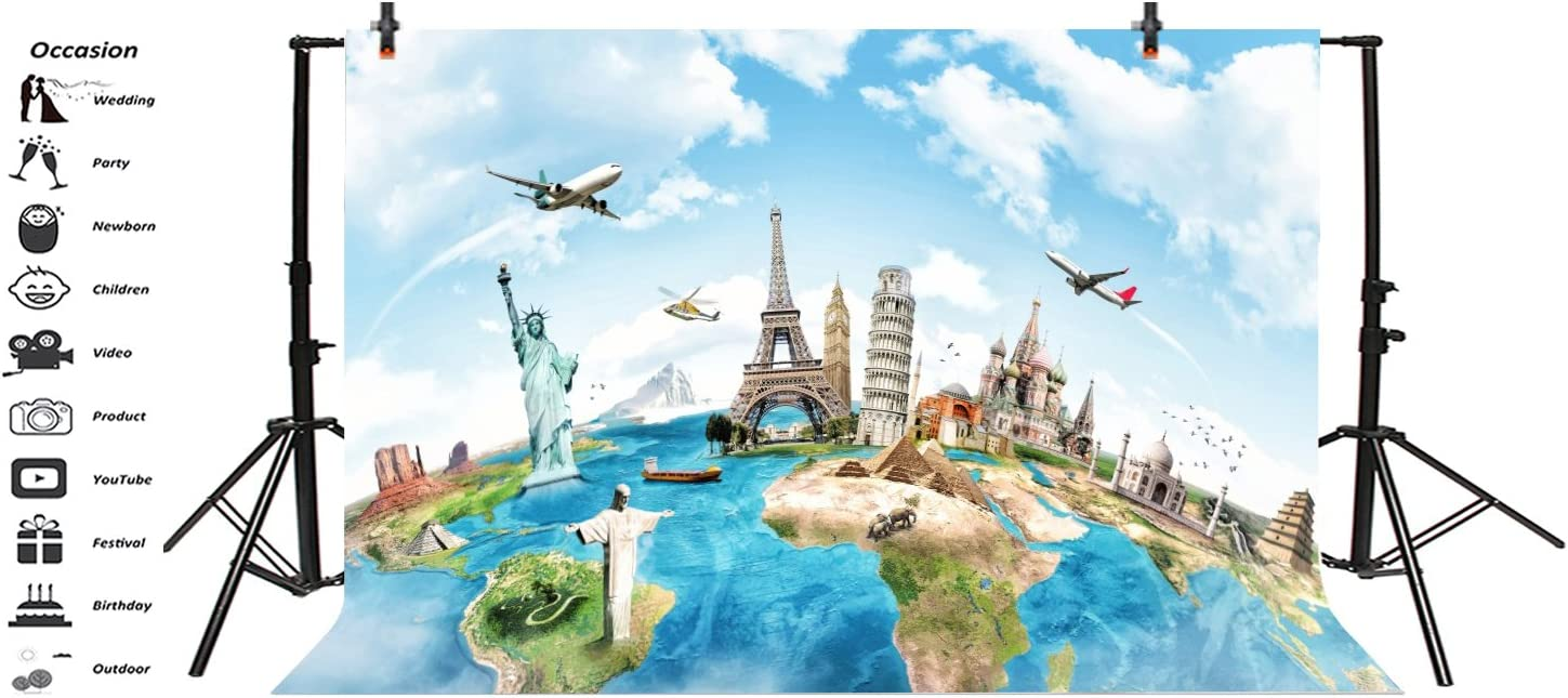 GoHeBe 7x5ft Creative Travel Backdrop Vacation Travel Creative Advertising Photography Background and Studio Photography Backdrop Props LYNAN372