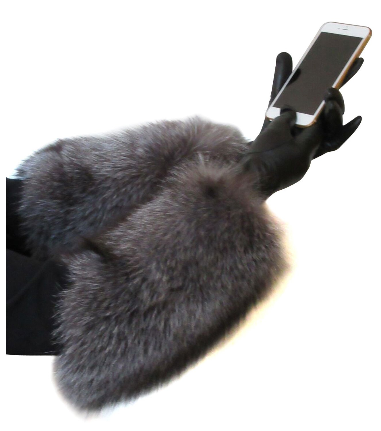 Black Cashmere Lined Leather Gloves Extended to Opera Length by Indigo Fox Cuffs 7.5 by FursNewYork (Image #4)