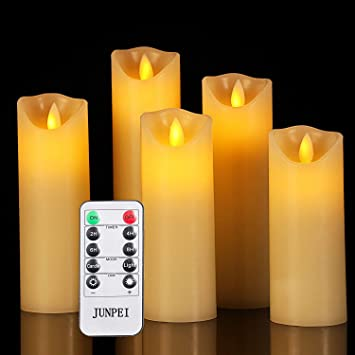 """Country LED Burnt Ivory 4.5/"""" Battery Operated TIMER Taper Candles Set of 6"""