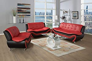 Ainehome 3 Piece Living Room Set Faux Leather with Sofa, Loveseat, Chair with Metal Legs, with Extra Flocking Hangers, Black & Red