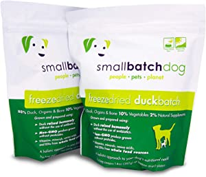 Smallbatch Pets Freeze-Dried Premium Raw Food Diet for Dogs, 2-Pack, Duck Recipe, 14 oz in Each Bag (28 oz Total), Made in The USA, Organic Produce, Humanely Raised Meat, Hydrate and Serve Patties