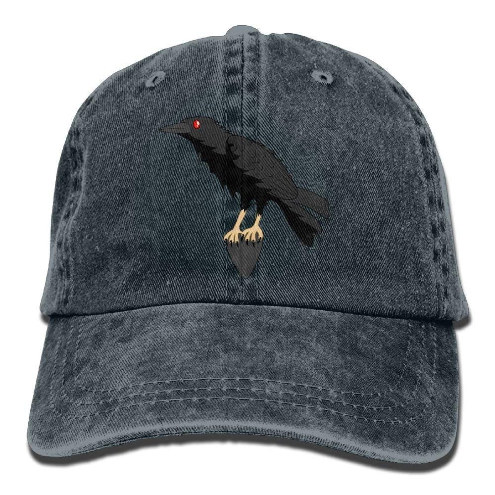 JTRVW Cowboy Hats Red-Eyes Crow Denim Hat Adjustable Unisex Baseball Cap