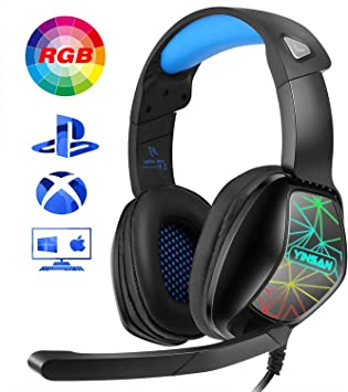 YINSAN Auriculares Gaming para PS4, Cascos Gaming Premium Stereo con Micrófono, Gaming Headset con 3.5mm Jack RGB LED con Control de Volumen para PS4/PC/Xbox One/Nintendo Switch/Mac (RGB1): Amazon.es: Electrónica