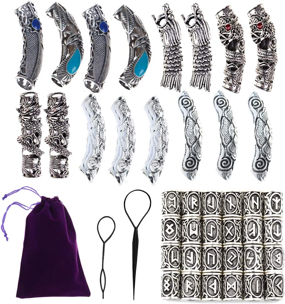 Qingsi 40 Pcs Vikings Rune Beard Bead Set Norse Dreadlocks Rings for Dreads Beards,Hair Paracord Pendants,Bracelets DIY