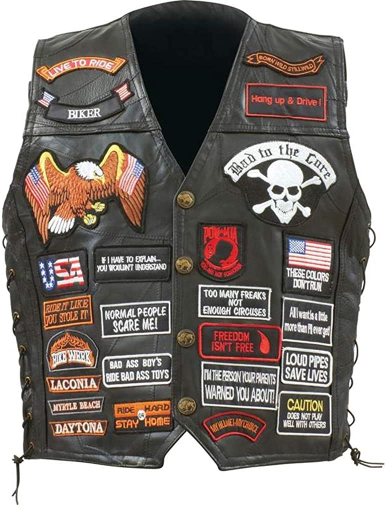 With PATCHES--Men/'s Size 3X--Great Patches!! Leather Motorcycle-Biker Vest