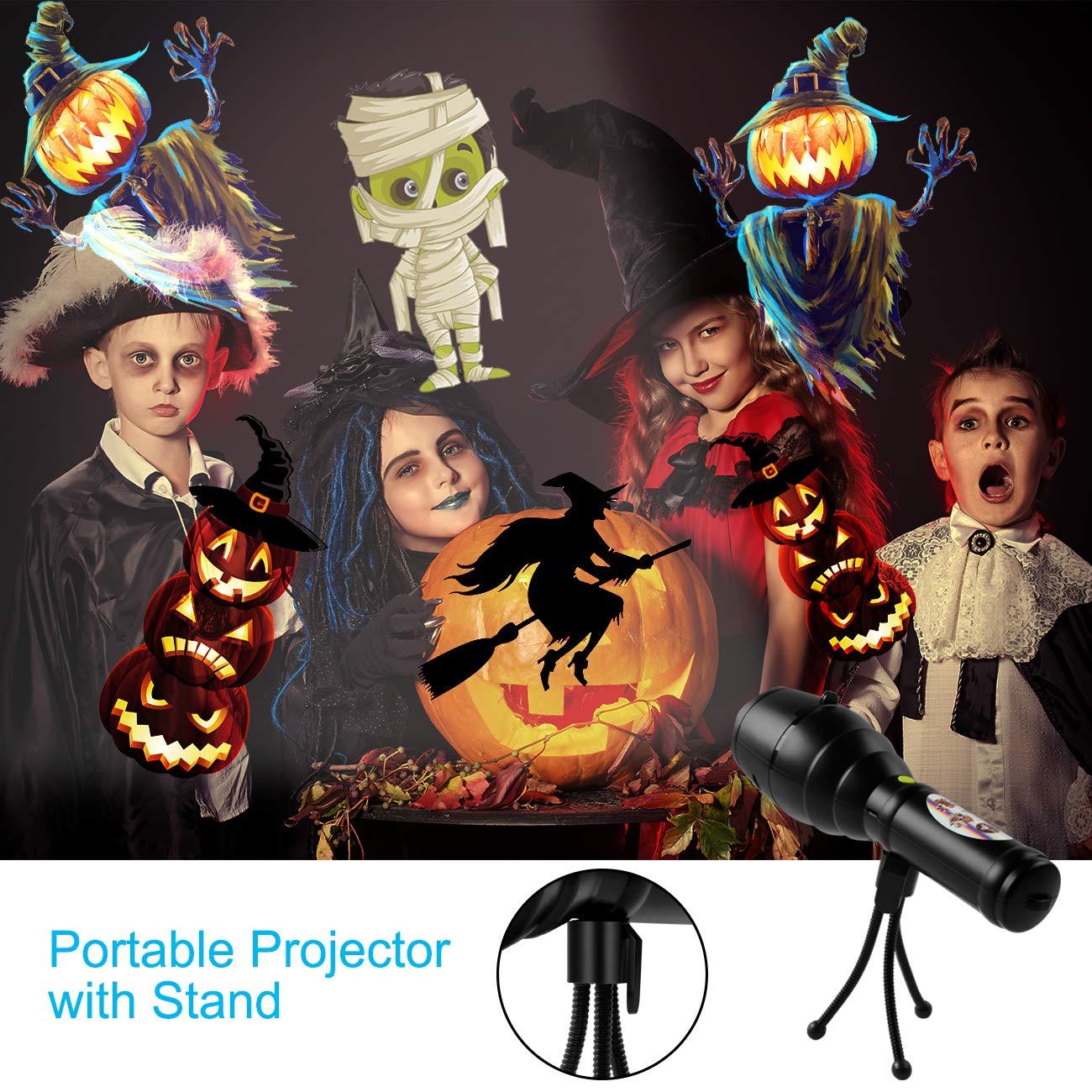 LED Projektionslampe,Atuten LED Projektor Taschenlampe mit 12 Verschiedene Motive,8 Musik Hintergrund,USB-Lade Kindertaschenlampe mit Stativ Tragbar Dekorative Lichter f/ür Halloween Weihnachten Party