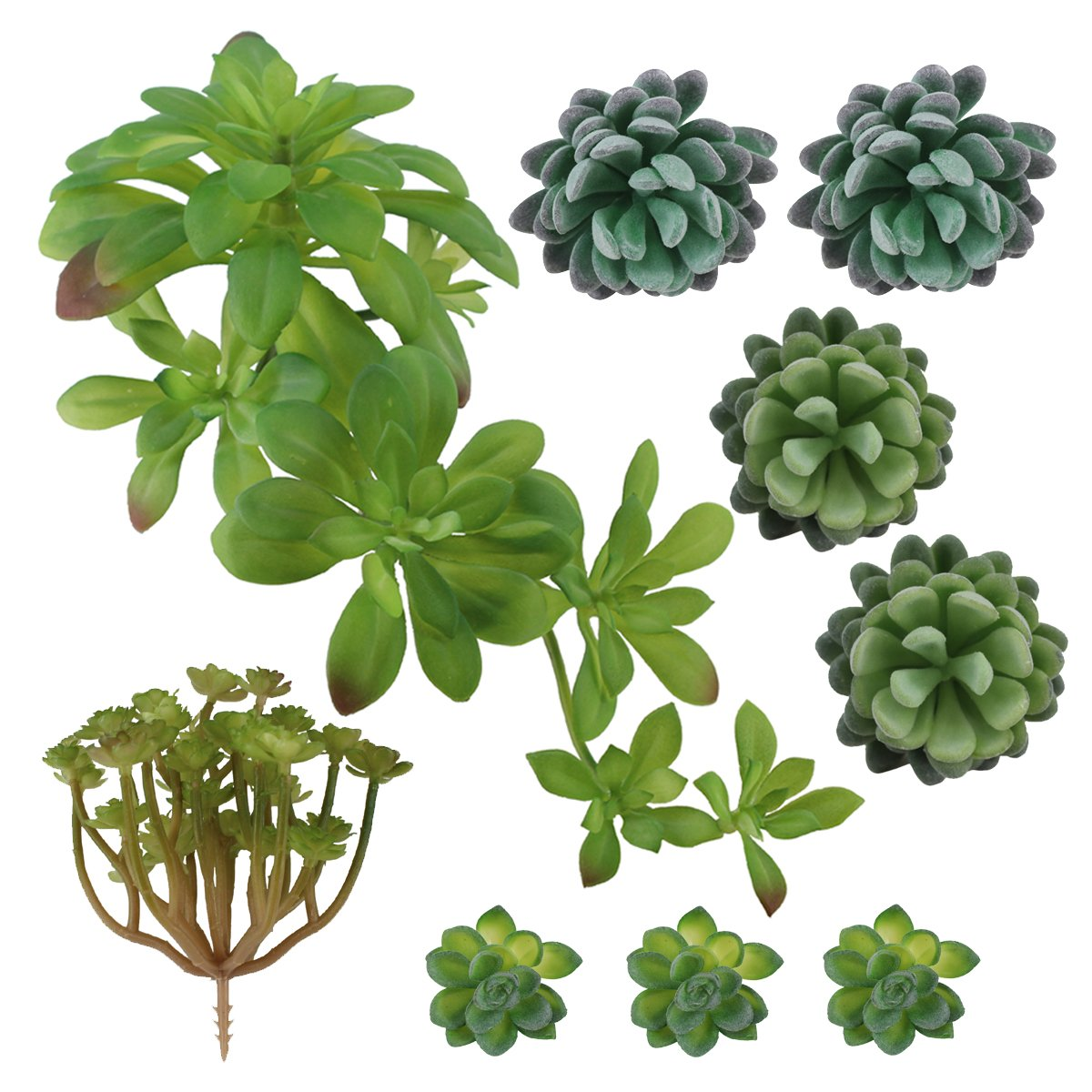 Greatflower DR208 Pack of 9 Artificial Succulents DIY Materials for Hotel or Desk Decor