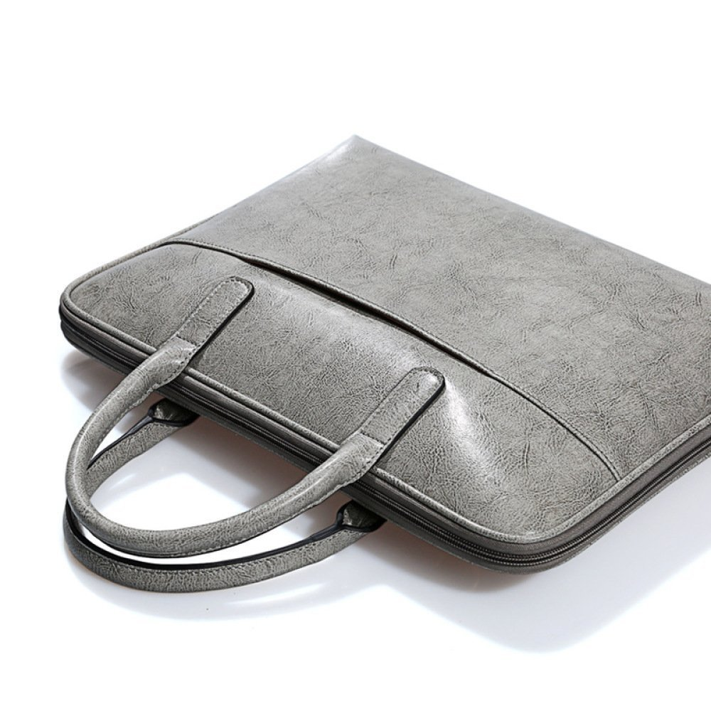 Simple Briefcase 14-inch Computer Bag Unisex,Gray-OneSize