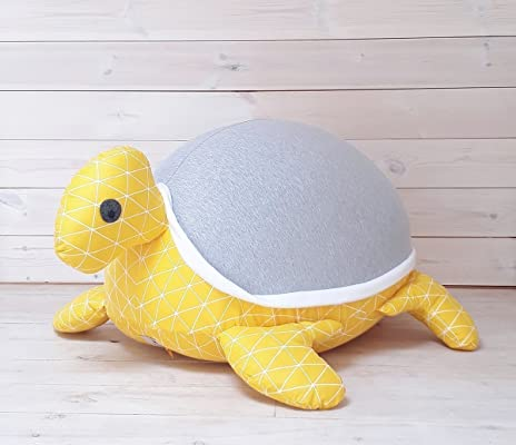 Stuffed animals bean bag chair Kids & Baby Floor pillow Giant turtle grey and yellow color, with an internal pillow for easy wash and maintenance.