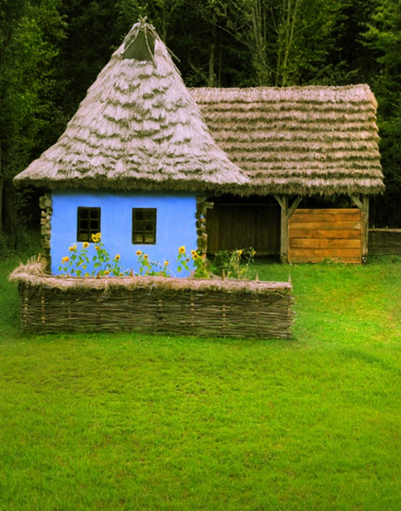 5 x 7ft Thatched Cottages Lawn写真背景computer-printedビニールBackdrops   B01IZY05P2