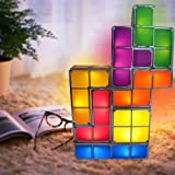 Tetris Puzzle Desk Lamp LED Constructible Block Table Decorative Stackable Night Light- Novelty Design DIY Retro Game Style