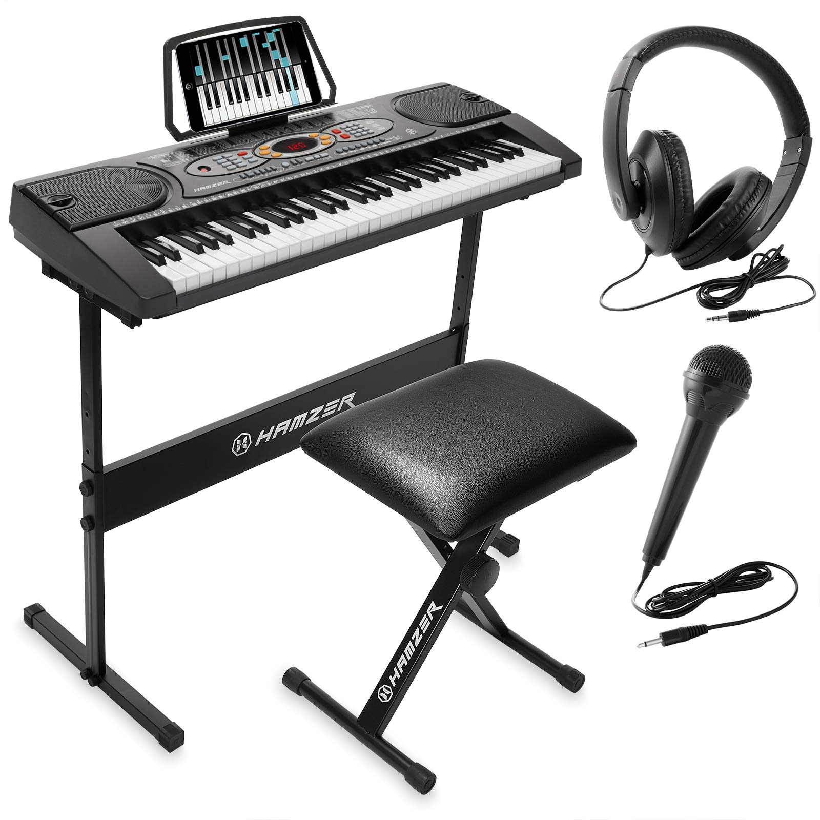 Hamzer 61-Key Electronic Keyboard Portable Digital Music Piano with H Stand, Stool, Headphones Microphone, Sticker Set by Hamzer
