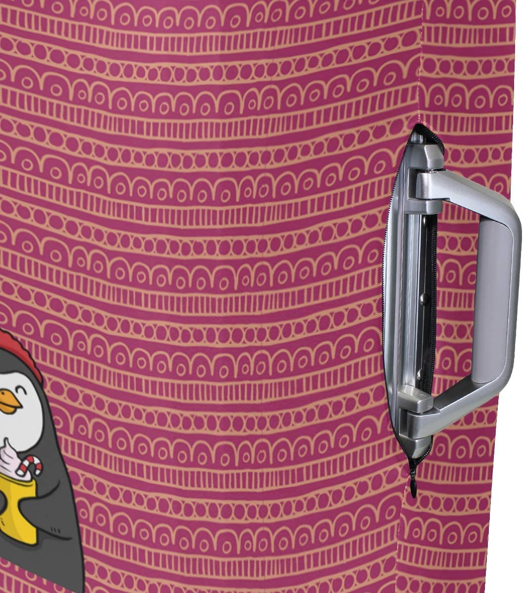 Black Happy Penguin Travel Luggage Protector Case Suitcase Protector For Man/&Woman Fits 18-32 Inch Luggage