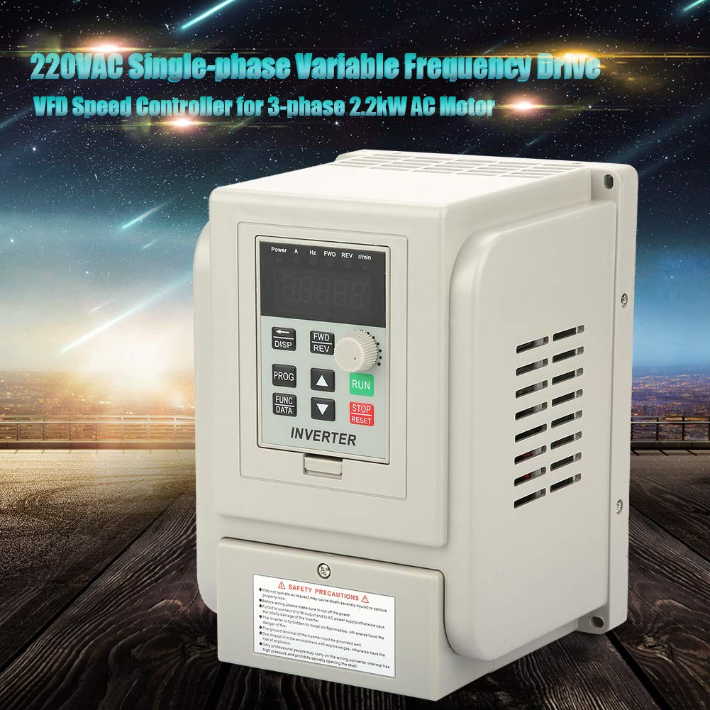 220V Variable Frequency Drive,Low Noise and Low Electromagnetic Interference,Large Torque,Speed Controller for 3-Phase 2.2KW AC Motor VFD Inverter Single to 3 Phase