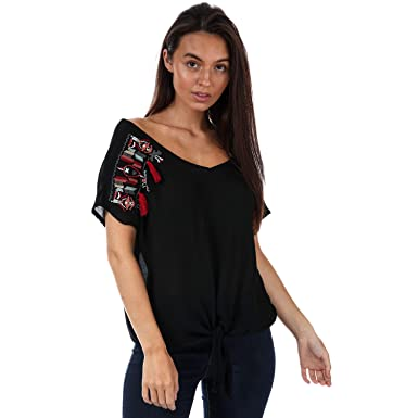 99f0af3b52f Amazon.com: Brave Soul Women's Lena Embroidered Oversized Tshirt ...
