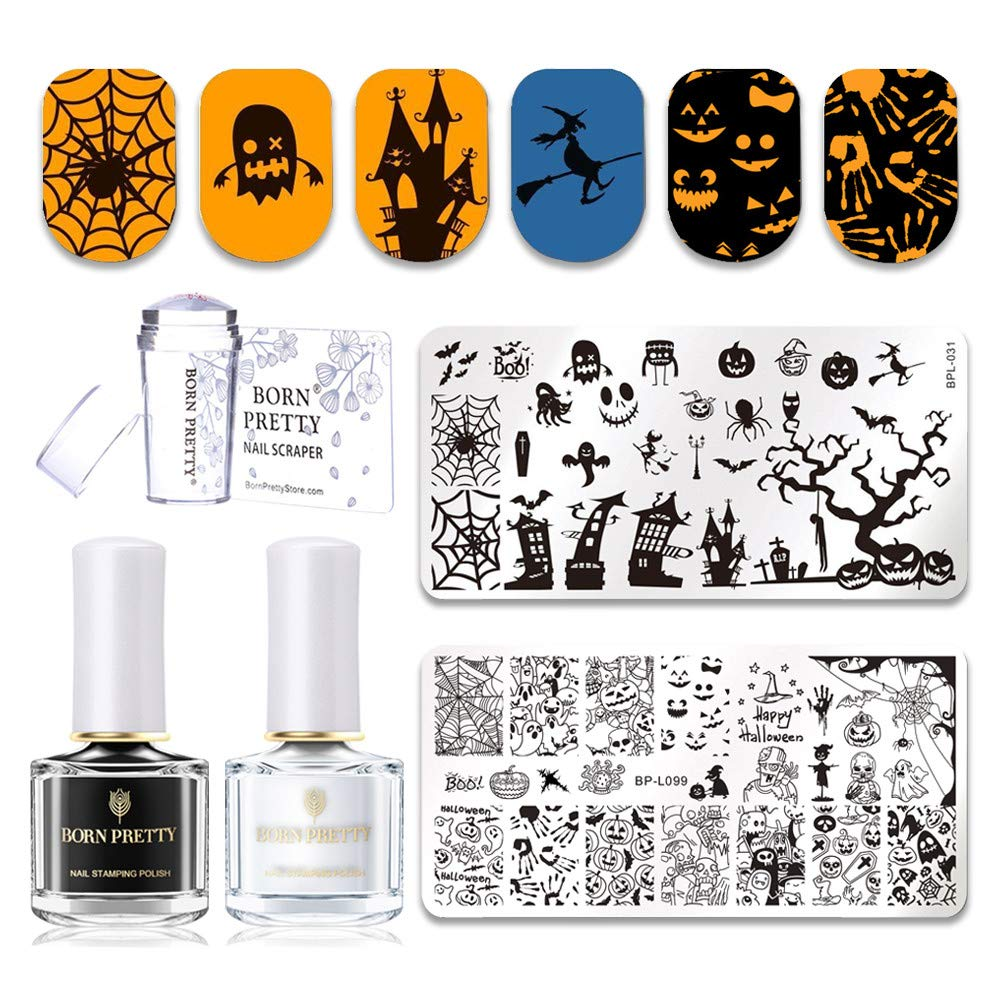 BORN PRETTY Nail Art Holloween Stamp Templates with Black White Stamping Polish Set and Stamper & Scraper prettytown