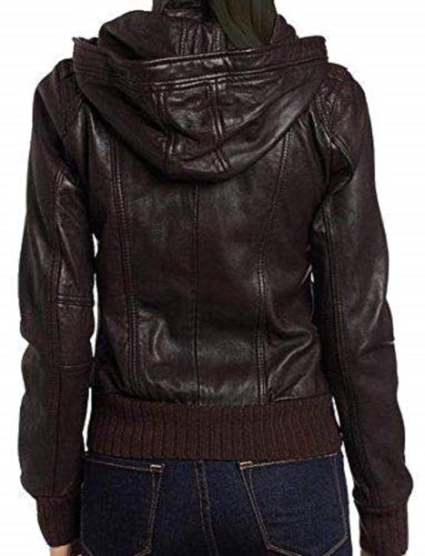 RF Leathers Womens Stylish Motorcycle Biker`s Original Real Sheepskin Leather Bomber Jacket