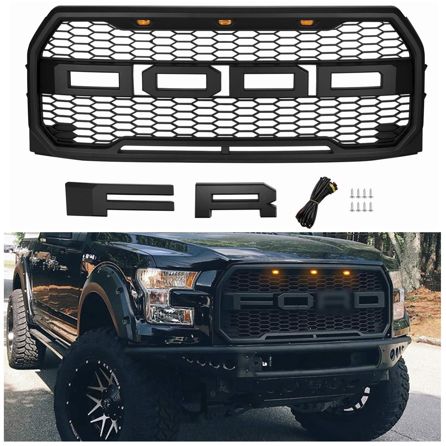 Seven Sparta Front Grill For F150 2015 2016 2017 Raptor Style Grill For Ford 15 17 Matte Black