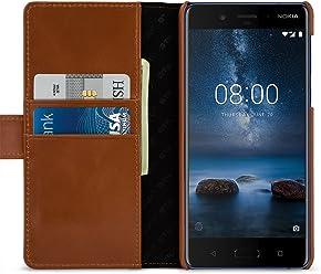 StilGut Housse pour Nokia 8 Porte-Cartes Talis en Cuir véritable à Ouverture latérale et Languette magnétique, Cognac