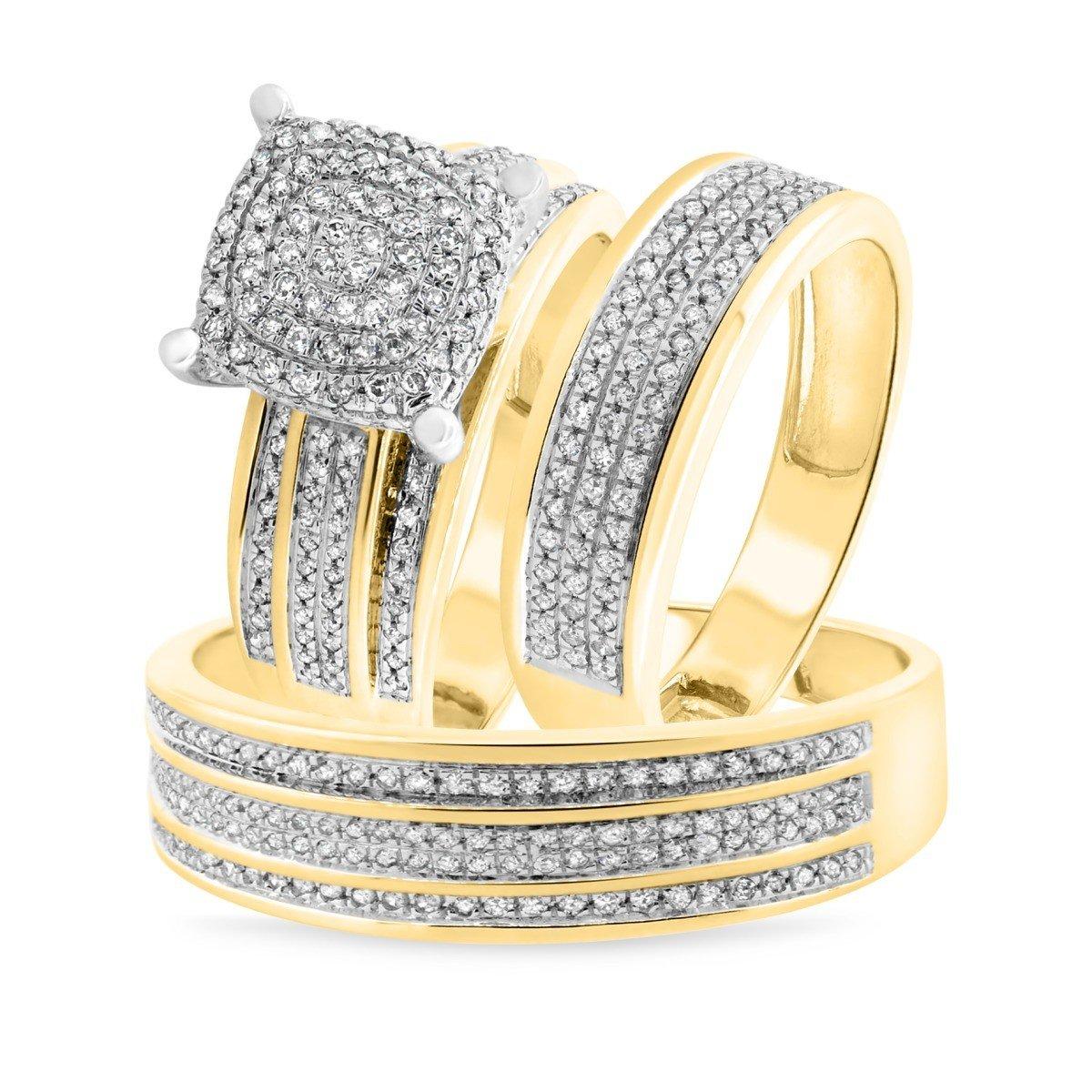 Silvercz Jewels 3/4 Carat T.W. Diamond Engagement Ring Wedding Trio Set In Solid 14K Yellow Gold Over