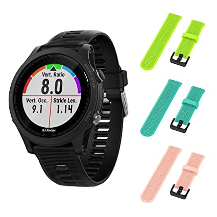 Garmin Forerunner 945 GPS Running Smartwatch with Included Wearable4U 3 Straps Bundle (Lime/Teal/Pink)