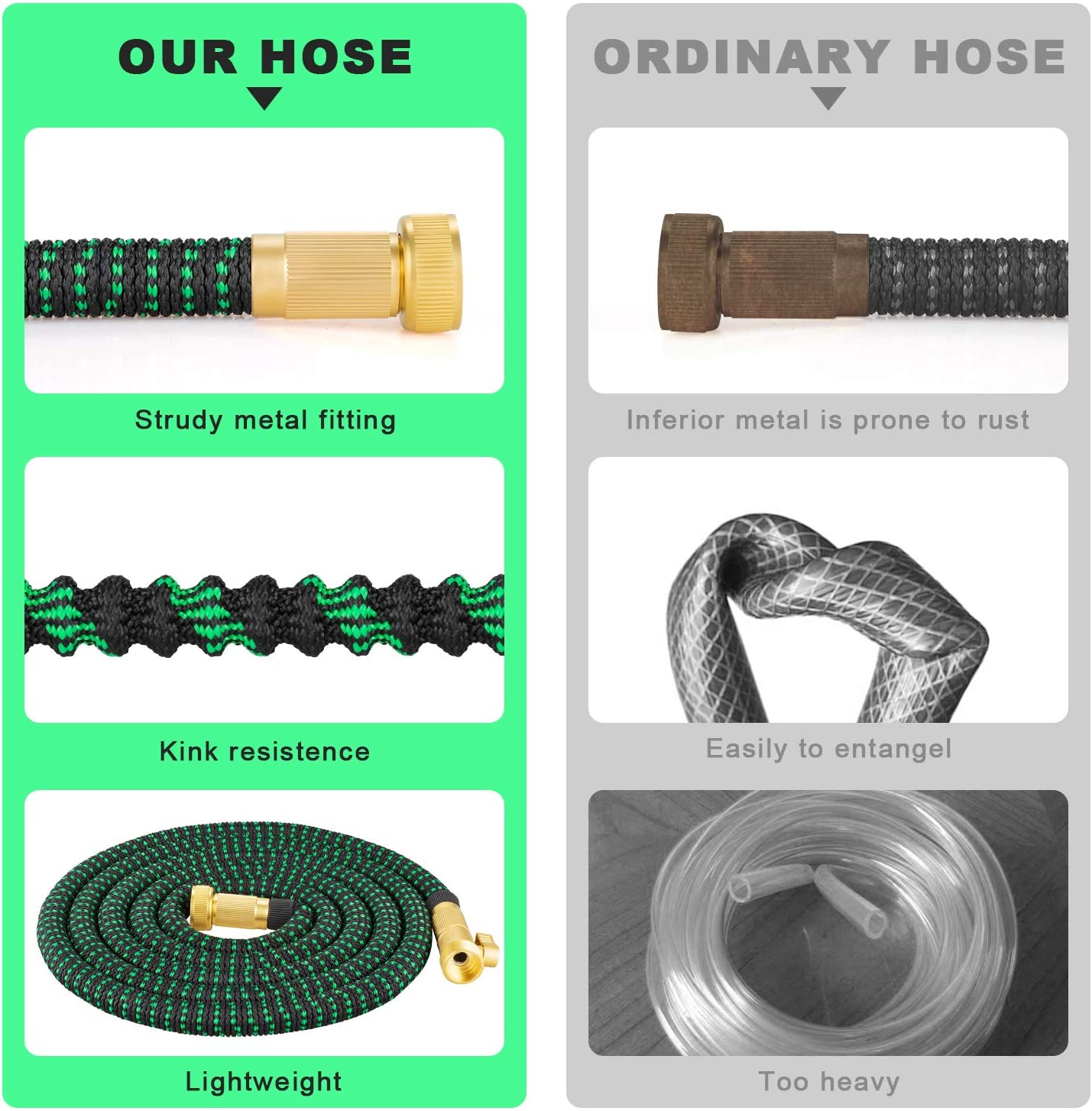 Zalotte Expandable Garden Hose with 9 Function Nozzle, Leakproof Lightweight Expanding Garden Water Hose with Solid Brass Fittings, Extra Strength 3750D Durable Gardening Flexible Hose Pipe(25ft) : Garden & Outdoor