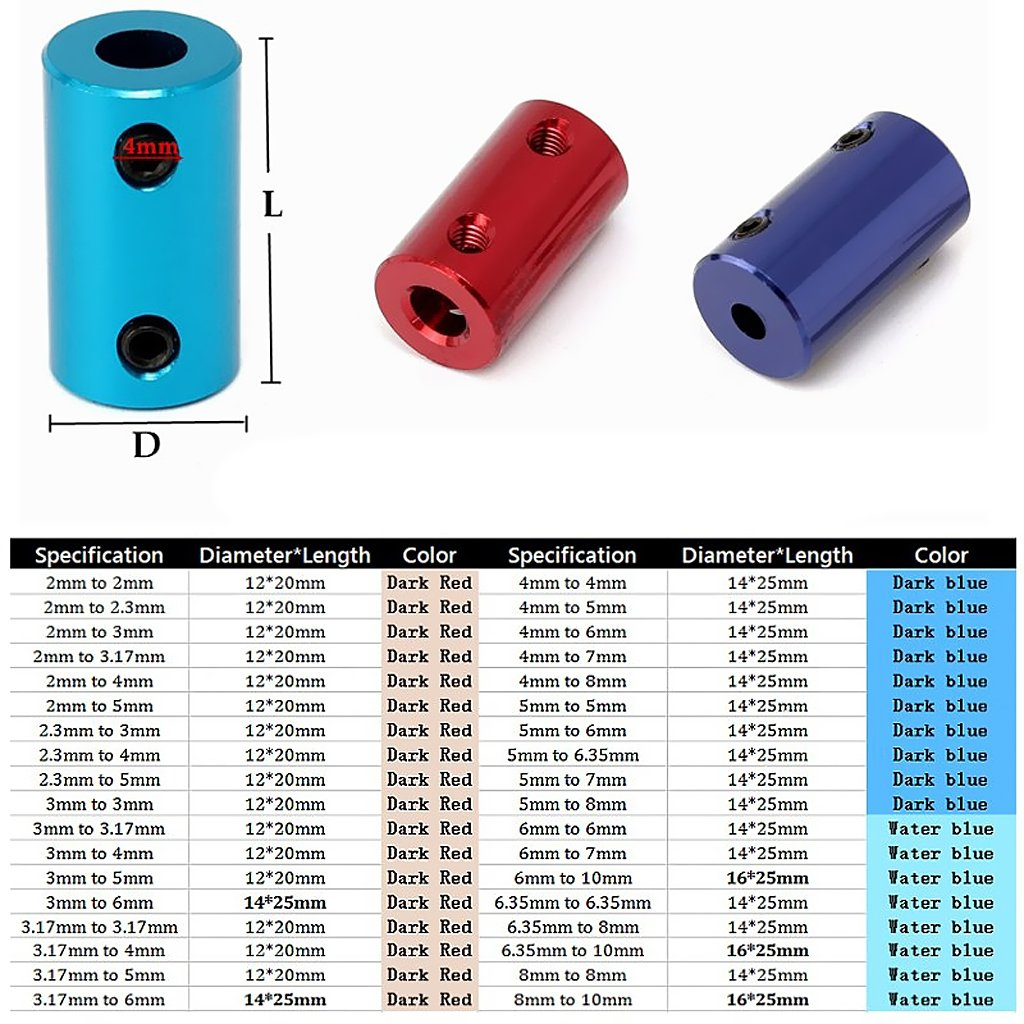 Homyl 10x Connecteur Rigide Daccouplement Darbre Flexible De Coupleur Par Ordinateur 5-5mm 5-8mm