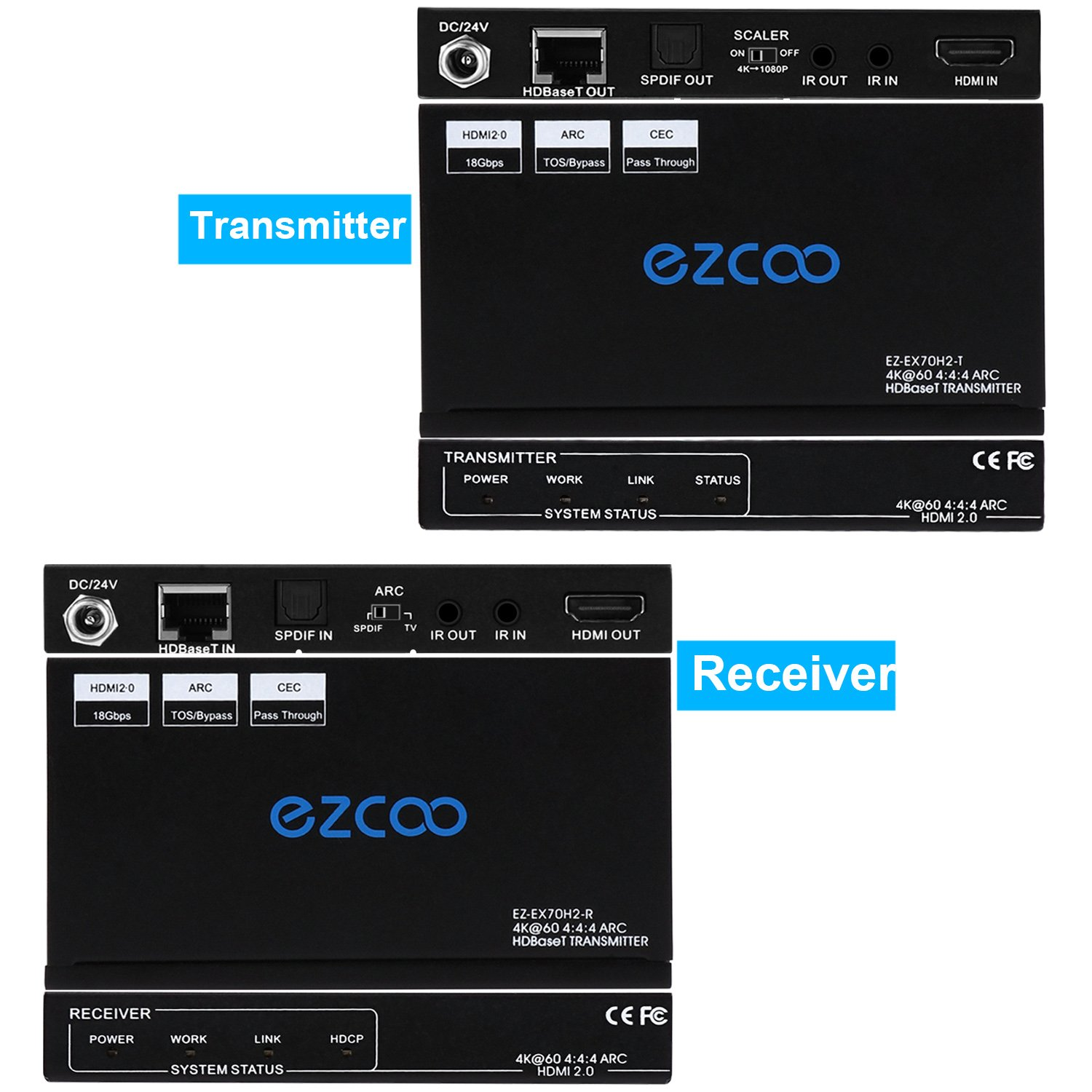 EZCOO 4K HDMI 2.0 Extender ARC HDR Scaler,HDBaseT Extender,Uncompressed 4K 60Hz 4:4:4 18Gbps HDCP 2.2 SPDIF, 4K/ 1080P Scaler Out, 230ft 1080P, 130ft 4K via Cat5e/6a, Bi-directional PoE+IR, CEC, DTS:X by EZCOO (Image #3)