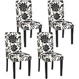 Set 4x sedie Littau tessuto per sala da pranzo 43x48x90cm ~ fiori piedi scuri