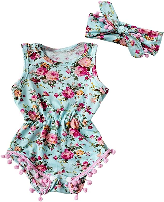 Neonato Ragazze Senza Maniche Pigiama Stampa Romper Tuta Pagliaccetto Floreale Top+Pantaloni Bodysuit Jumpsuits Outfits Set BeautyTop Bambina Pagliaccetto