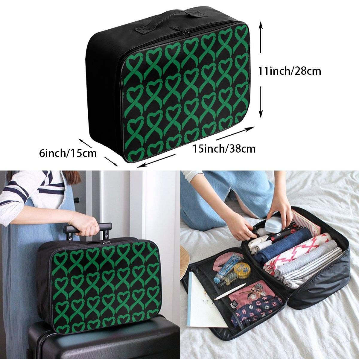 mounted On The Pull Rod Box Liver Cancer Ribbon Travel Lightweight Large Capacity Portable Waterproof Foldable Storage Carry Luggage Duffle Tote Bag
