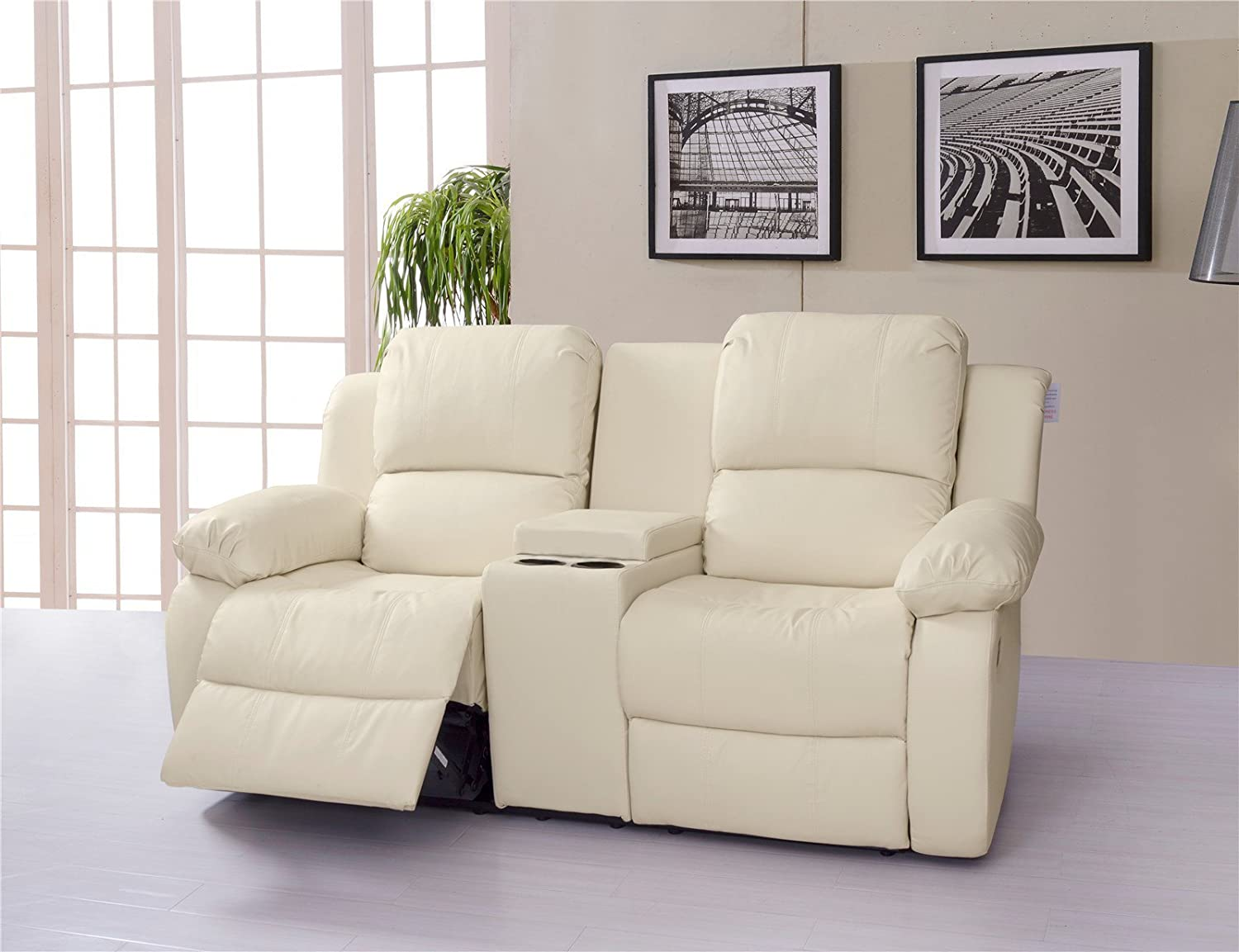 Lovesofas Valencia 2 Seater Bonded Leather Recliner Sofa With Drinking  Console   Cream: Amazon.co.uk: Kitchen U0026 Home