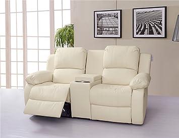 Lovesofas Valencia 2 plazas piel reclinable sofá con consola ...