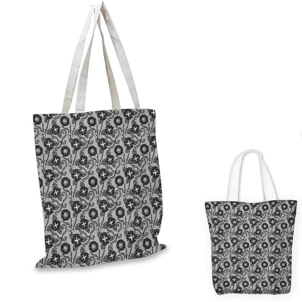 12x15-10 Gothic canvas messenger bag Victorian Floral Motifs and Artistic Owl Figures Classical Vintage Flourishes canvas beach bag Black Grey White