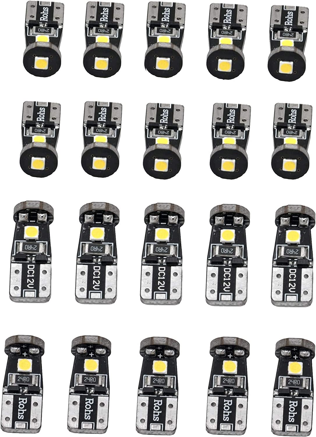2 x 6-3020-SMD White T10 W5W 192 168 License Plate LED Light Bulbs For Ford